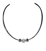 Necklace Choker Stainless Steel Bands 2 Steel Balls and 1 Crystal Ball unique twist clasp closure 40 cm