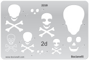 Plastic Stencil Template for Graphical Design Drawing Drafting Metal Clay Jewellery Jewellery Making - 2D Danger Poison Sign Scull