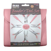 BEADSMITH 8 FASHION-PINK colour TOOL SET FOR MAKING jewellery WITH COORDINATED CLUTCH CARRY CASE