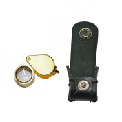 5 Jewellers Loupes 14x 12mm Polished Brass Finish and Case with Snap