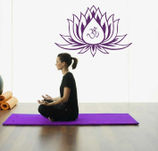 Hausewares Vinyl Decal Lotus Flower With Om Sign Yoga Meditation Wall Art Decor Removable . Sticker Mural Unique Design for Room