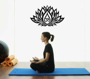 Hausewares Vinyl Decal Lotus Flower with Om Sign Wall Art Decor Removable . Sticker Mural Unique Design for Room