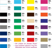 30 Sheets - U Pick the Colours - 12x24 Permanent Adhesive Craft Vinyl for CraftROBO, Silhouette, CriCut, and Similar Cutters- EV241US