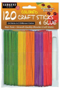 Sargent Art 35-1435 120-Count Coloured Craft Sticks with Glue