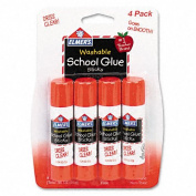 Elmer`s : Washable School Glue Sticks, .710ml, Repositionable Stick, Four per Pack -:- Sold as 2 Packs of - 4 - / - Total of 8 Each