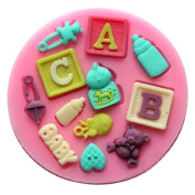Wholeport Baby and Bear Fondant and Gum Paste Silicone Resin Candy Moulds Baking Moulds Cake Decoration