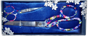 Beautiful Designer Scissors Set Floral Pattern 22cm Dressmaker & 10cm Embroidery Scissors
