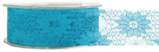 May Arts 3.8cm Wide Ribbon, Turquoise Lace