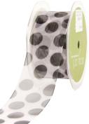 Sheer Jumbo Dot Nylon Edge Ribbon 2.5cm - 1.3cm X30 Yards-Black
