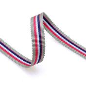 Grosgrain Stripe Ribbon 1cm Grey, Pink and Navy 10 Yards