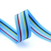 Grosgrain Stripe Ribbon 1.6cm Light Blue and Multicoloured Stripes 10 Yards