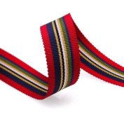 Grosgrain Stripe Ribbon 1.6cm Red, Navy and Multicoloured Stripes 10 Yards