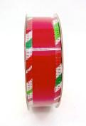 Jo-ann's Holiday Inspirations Red Velvet Ribbon,red/green Striped Edge,2.2cm x 9ft.