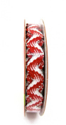 Jo-ann's Holiday Inspirations Wavy Ribbon,white/red,silver Foil Accents,1cm x 9ft.