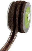 May Arts 2.5cm Wide Ribbon, Brown Crochet with Brown Velvet