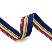Grosgrain Stripe Ribbon 2.2cm Navy, Red and Yellow 10 Yards
