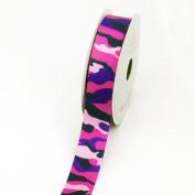 LUV Ribbons Grosgrain Camouflage Print Ribbon, 2.2cm , Hot Pink