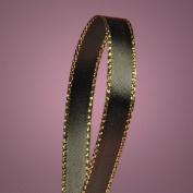 Black Satin Ribbon with Gold Edges, 1cm X 50Yd