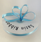 1cm Light Blue with Silver Edge Satin Ribbon 50 Yards Spool Single Faced Polyester