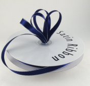 1cm Navy Blue with Silver Edge Satin Ribbon 50 Yards Spool Single Faced Polyester