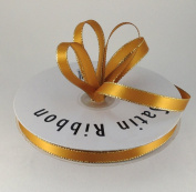1cm Antique Gold with Gold Edge Satin Ribbon 50 Yards Spool Single Faced Polyester