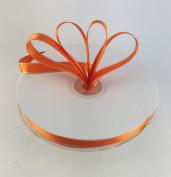 1cm Orange with Silver Edge Satin Ribbon 50 Yards Spool Single Faced Polyester