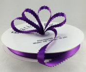 1cm Purple Double Faced Satin Ribbon with PICOT Feather Edge 50 Yard Spool 100% Polyester