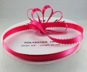 1cm Hot Pink Double Faced Satin Ribbon with PICOT Feather Edge 50 Yard Spool 100% Polyester