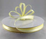 1cm Baby Maize Double Faced Satin Ribbon with PICOT Feather Edge 50 Yard Spool 100% Polyester