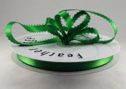 1cm Emerald Green Double Faced Satin Ribbon with PICOT Feather Edge 50 Yard Spool 100% Polyester