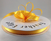1cm Light Gold Double FacedSatin Ribbon with PICOT Feather Edge 50 Yard Spool 100% Polyester