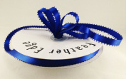 1cm Royal Blue Double Faced Satin Ribbon with PICOT Feather Edge 50 Yard Spool 100% Polyester