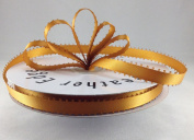 1cm Gold Double Faced Satin Ribbon with PICOT Feather Edge 50 Yard Spool 100% Polyester