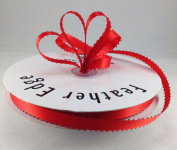 1cm Red Double Faced Satin Ribbon with PICOT Feather Edge 50 Yard Spool 100% Polyester