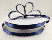 1cm Navy Blue Double Faced Satin Ribbon with PICOT Feather Edge 50 Yard Spool 100% Polyester