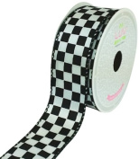 LUV RIBBONS Fabric Ribbon by Creative Ideas, 3.8cm , Black Chequered, White