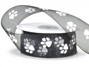 Sheer Black Organza Ribbon with White Paw Prints 3.8cm X 25 Yds Spool