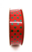 Jo-ann's Holiday Inspirations Red Polka Dot Ribbon,red/green,2.2cm x 9ft.