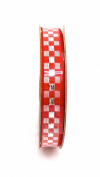 Jo-ann's Holiday Inspirations Red/white Cheque Ribbon,red/white/silver,1cm x 9ft.