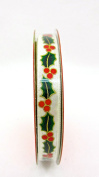 Jo-ann's Holiday Inspirations Mistletoe Ribbon,white,ivy,berries,1cm x 9ft.