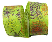 Renaissance 2000 Ribbon, 6.4cm , Green with Multicolor Spider Web