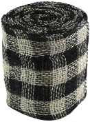 Kel-Toy Checker Jute Burlap Roll, 15cm by 10-Yard, Black/Cream