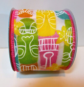 Jo-ann's Summer Inspirations Ribbon,colourful Island Masks,glitter Accents,wire Edge,6.4cm x 12ft.