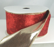 Plush Gold Back Red Wired Christmas Ribbon 6.4cm - 10 Yards