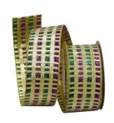 Renaissance 2000 Ribbon, 3.8cm , Gold Metallic with Green Purple Square