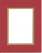 16x20 Bright Red & Gold Double Picture Mat, Bevel Cut for 11x14 Picture or Photo