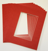 Pack of 10 RED 8x10 Picture Mats Matting with White Core Bevel Cut for 5x7 Pictures