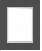 16x20 Black & Silver Double Picture Mat, Bevel Cut for 11x14 Picture or Photo