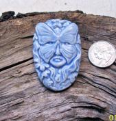 Light Blue - Butterfly Spirit Face - 1 Pendant - Mosaic Tiles Hm Pottery