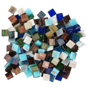 Jennifer's Mosaics Variety Mix 1cm Gold Veined Venetian Style Glass Mosaic Tile, Assorted Colours, 1-Pound